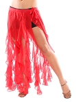 Belly Dance Belt Over-Skirt with Long Ruffle Fringe - RED