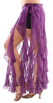 Belly Dance Belt Over-Skirt with Long Ruffle Fringe - DARK PURPLE PLUM