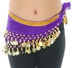 Toddler Size DELUXE Coin Hip Scarf - GRAPE / GOLD