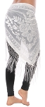 Burnout Velvet Rose Pattern Shawl Hip Scarf with Fringe - WHITE
