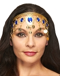 Arabesque Metal Head Piece with Coins & Jewels - GOLD / BLUE