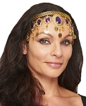 Arabesque Metal Head Piece with Coins & Jewels - GOLD / PURPLE