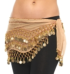 Chiffon Belly Dance Hip Scarf with Beads & Coins - SAND / GOLD