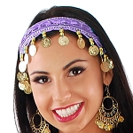 Sequin Belly Dance Costume Headband with Coins - LILAC PURPLE / GOLD