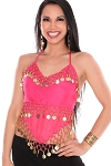 Sheer Chiffon Belly Dance Halter Top with Coins - DARK PINK / GOLD
