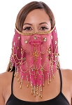 Ornate Harem Belly Dancer Costume Face Veil Accessory - DARK ROSE PINK