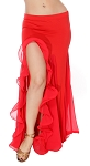 Egyptian Style Belly Dance Skirt with Ruffle Side Slit - RED