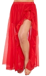 Chiffon Ruffle Belly Dance Skirt with Slit - RED