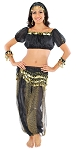 Glitter Genie Harem Costume with Coins - BLACK / GOLD