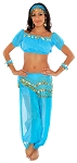 Glitter Genie Harem Costume with Coins - BLUE TURQUOISE