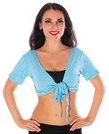 Comfy Short Sleeve Choli Dance Top - LT. BLUE TURQUOISE