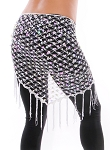 Crochet Net Shawl Scarf with Square Sequins & Fringe - WHITE OPAL