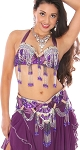 PETITE Professional Belly Dance Costume with Rhinestones & Fringe - PURPLE PLUM