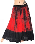 7 Yard Cotton Tribal Gypsy Belly Dance Skirt - RED TIE DYE