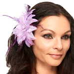 Hair Flower with Feather Accents - LILAC