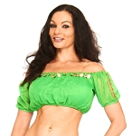 Chiffon Gypsy Belly Dancer Bollywood Half Top with Coins - GREEN / GOLD