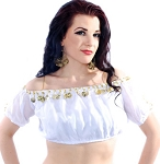 Chiffon Gypsy Belly Dancer Bollywood Half Top with Coins - WHITE