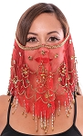 Ornate Harem Belly Dancer Costume Face Veil Accessory - RED