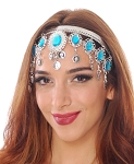 Arabesque Metal Head Piece with Coins & Jewels - SILVER / LT. BLUE TURQUOISE