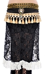 Tribal Fusion Studded Lace Hipscarf Skirt with Tassels - BLACK / WHITE