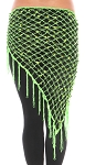 Crochet Net Shawl Scarf with Square Sequins & Fringe - LIME GREEN