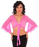 Lace Bell Sleeve Choli Belly Dance Top - HOT PINK