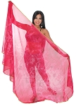 3 Yard Chiffon Tie-Dye Semi-Circle Belly Dancing Veil - FUCHSIA / PINK