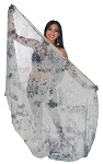 3 Yard Chiffon Tie-Dye Semi-Circle Belly Dancing Veil - BLACK / GREY