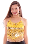 Chiffon Belly Dance Bollywood Costume Halter Top with Paillettes & Bells - YELLOW