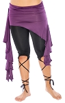 Asymmetric Belly Dance Fusion Overskirt with Side Ruffles - DARK PURPLE PLUM