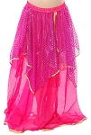 Kids Chiffon Sparkle Belly Dancer Costume Skirt - DARK PINK