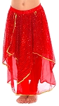 Kids Chiffon Sparkle Belly Dancer Costume Skirt - RED
