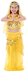 Little Girl Size Belly Dancer Bollywood Costume with Head Veil - YELLOW