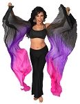 Silk Fan Veils Belly Dance Prop (Set of 2) - BLACK / PURPLE / FUCHSIA