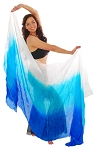 Ombre Silk Belly Dance Veil - BLUE / TURQUOISE / WHITE