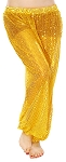 Shiny Sequin Dot Belly Dancer Genie Harem Pants - DARK GOLD