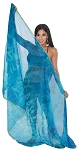 3 Yard Chiffon Tie-Dye Semi-Circle Belly Dancing Veil - TURQUOISE / BLUE