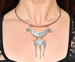 Handmade Miao Silver Tribal Choker Necklace with Geometric Spiral Pendant