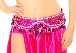 Sequin Beaded Belly Dance Belt with Teardrop Paillettes - FUCHSIA / SILVER