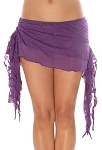 2-Layer Ruched Mesh & Lace Tribal Fusion Belly Dance Overskirt - PURPLE