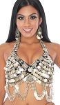 Classic Belly Dance and Tribal Coin Bra Top with Medallions - BLACK / SILVER