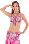 Art Deco Professional Belly Dance Costume Set with Beads & Rhinestones - HOT PINK