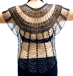 Vintage Look Egyptian Art Deco Beaded Crochet Top / Jacket - BLACK / SILVER