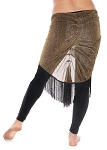 Plus Size Sparkling Lurex Belly Dance Hip Scarf with Fringe - BLACK / GOLD