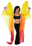 Belly Dancer Silk Fan Veils Dance Prop (Set of 2) - FLAME