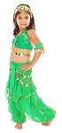 Little Girls Ruffle Harem Pants Belly Dance Bollywood Costume - GREEN