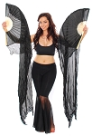 Silk Fan Veils Stage Prop for Belly Dancing (Set of 2) - BLACK