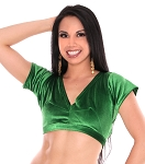 Short Sleeve Velvet Tribal Choli Top - GREEN
