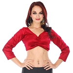 3/4 Sleeve Velvet Tribal Choli Top - RED