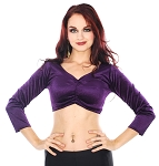 3/4 Sleeve Velvet Tribal Choli Top - PURPLE